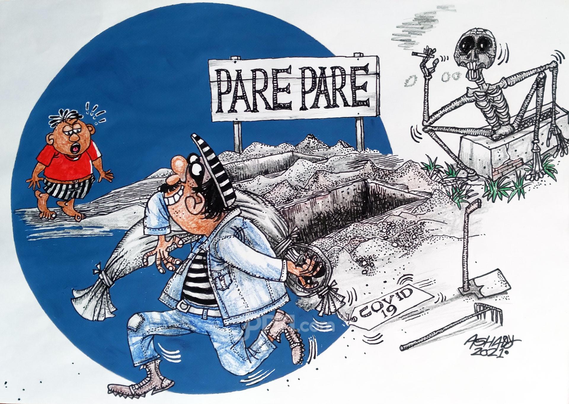 Jenazah Covid Dicuri. Karikatur oleh Ashady - JPNN.com