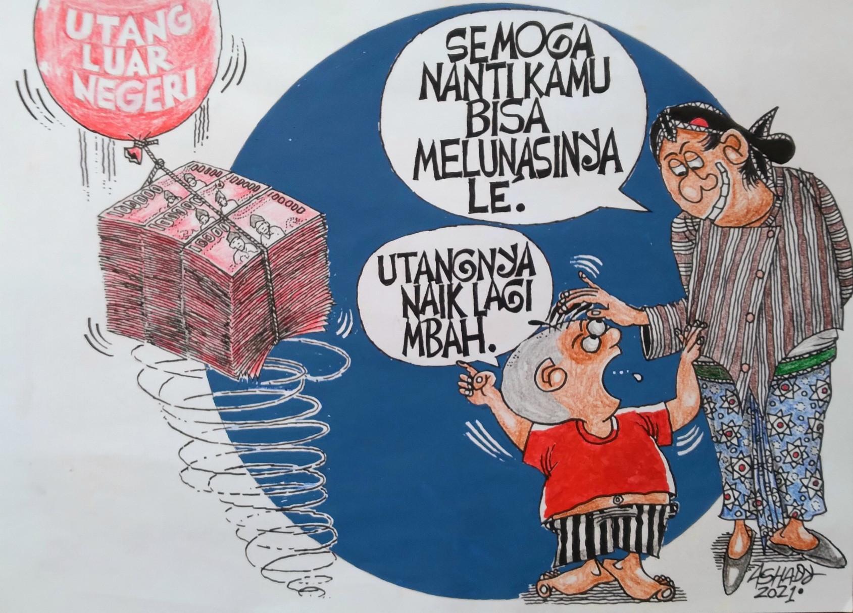 Utangnya Naik Lagi. Karikatur oleh Ashady - JPNN.com
