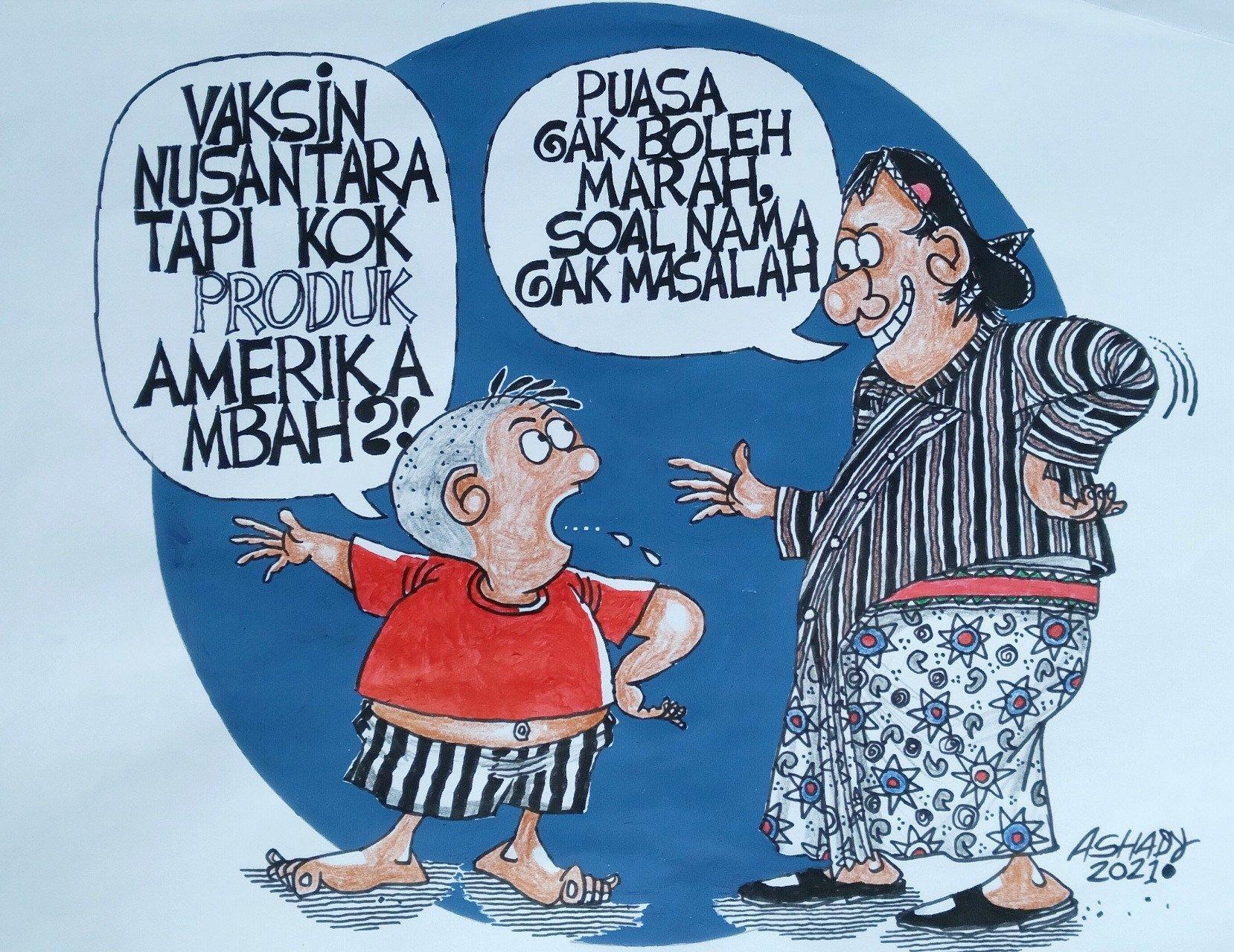 Vaksin Nusantara. Karikatur oleh Ashady - JPNN.com