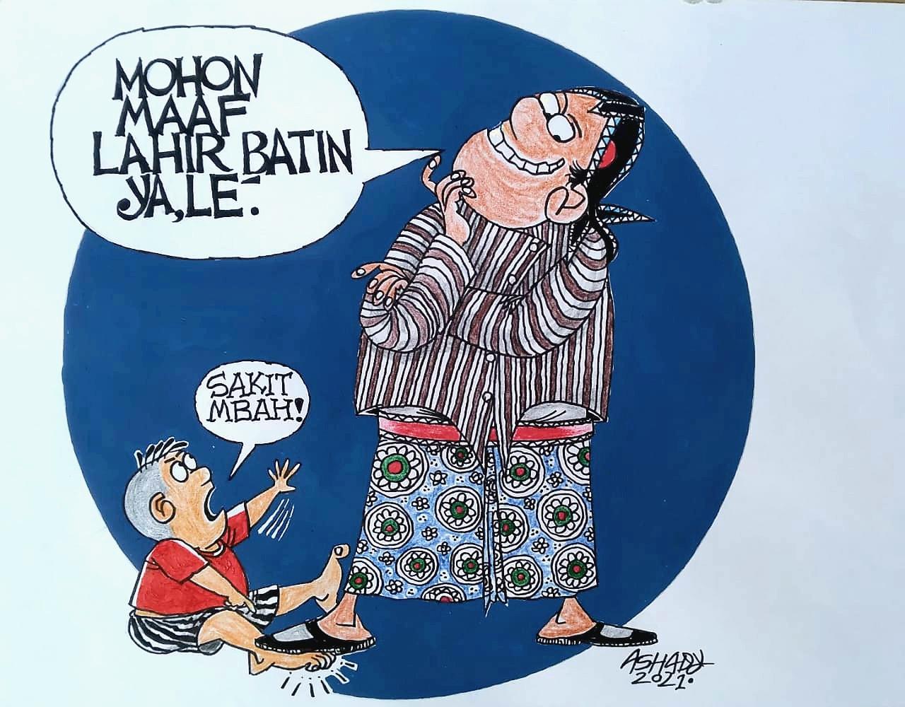 Mohon Maaf Lahir Batin. Karikatur oleh Ashady - JPNN.com