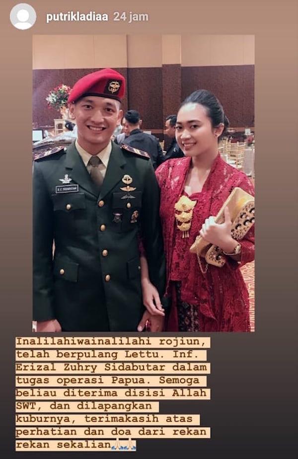 Curahan Hati Calon Istri Prajurit TNI yang Tewas di Papua: Allah Lebih Sayang Abang