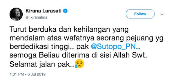 Pak Sutopo Meninggal, Kirana Larasati Ikut Berduka