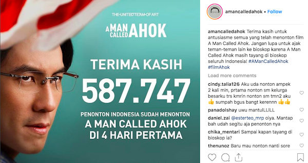Unggahan resmi tim film A Man Called Ahok. 9fd5d48b5b9