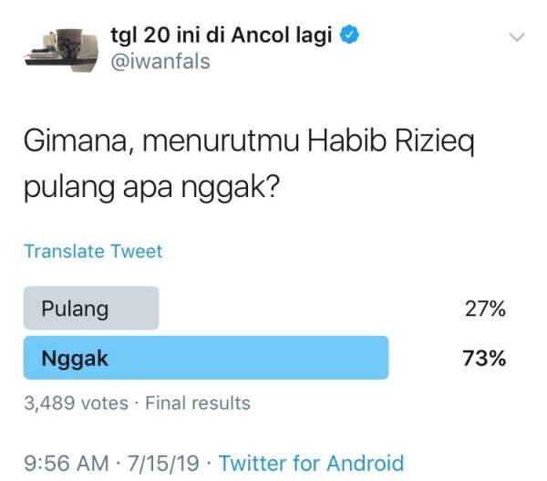 Iwan Fals Bikin Polling soal Habib Rizieq, Hasilnya? Wouw