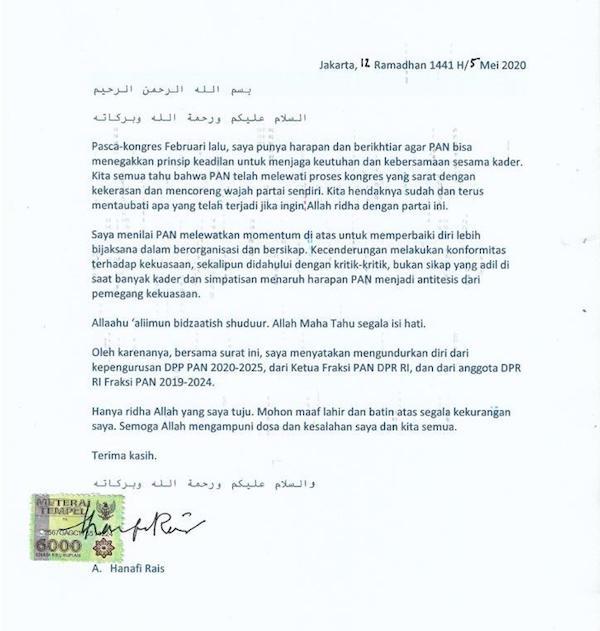Begini Alasan Hanafi Putra Amien Rais Mundur dari PAN dan DPR