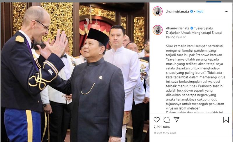 Ajudan Menyimpulkan, Opsi Terbaik Menurut Prabowo adalah Lockdown