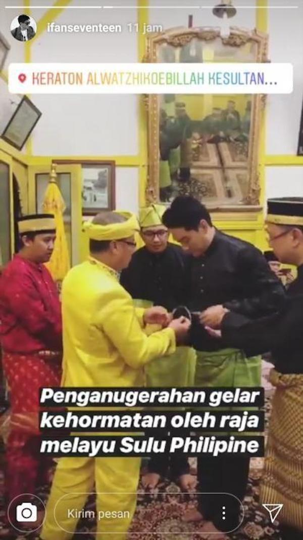 Ifan Seventeen Diganjar Penghargaan Kehormatan dari Raja Melayu Sulu Filipina