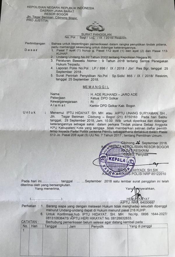 Diperiksa Gakumdu, Jaro Ade Beber Kisruh DPT Pemilu 2019