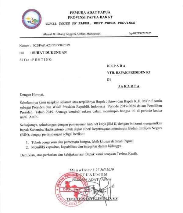 Tokoh Adat Papua Usulkan Nama Suhendra Jadi Calon Kepala BIN