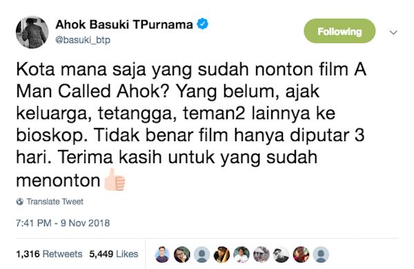 Kabar Film Ahok Cuma Tayang 3 Hari, Begini kata Ahok