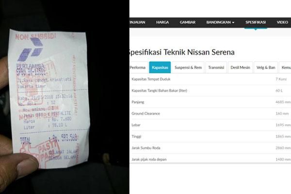 Viral Nissan Serena Isi BBM Lebihi Kapasitas Tangki Standar