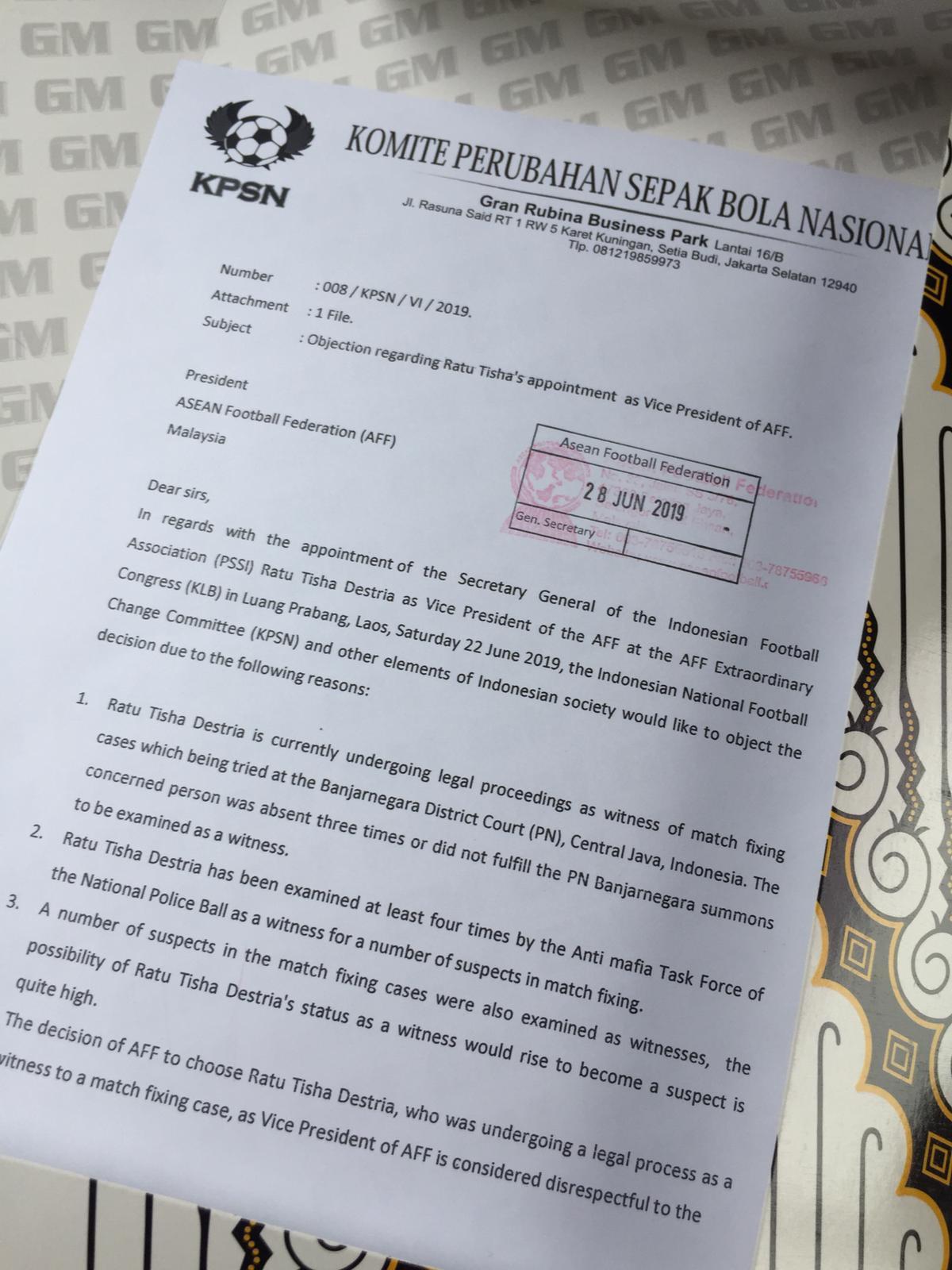 Kpsn Kirim Surat Resmi Ke Aff Tribunnewscom