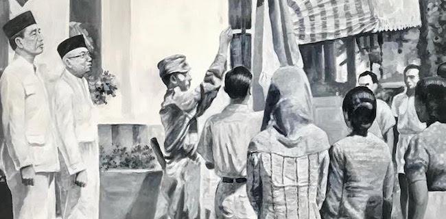 Lukisan Unik, Saat Jokowi-Ma'ruf Gantikan Posisi Soekarno-Hatta