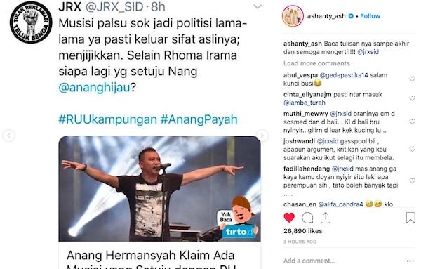 Jerinx SID Kritik Anang, Begini Balasan Ashanty