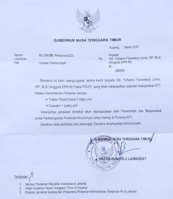 Gubernur NTT Berkirim Surat Kepada Anggota DPR RI Ansy Lema, Nih Isinya