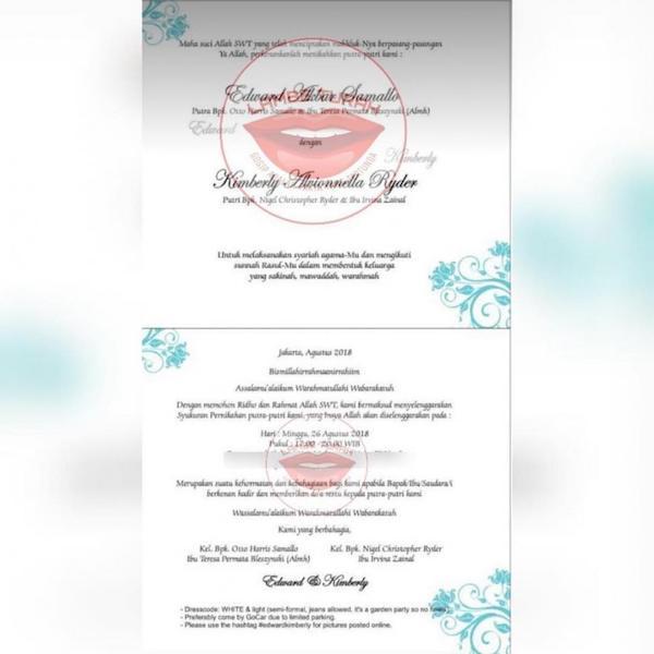 Kejutan! Kimberly Ryder dan Edward Akbar Menikah Minggu Ini