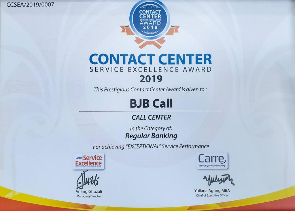 Bank BJB Raih Penghargaan Contact Center Service Excellent Award 2019