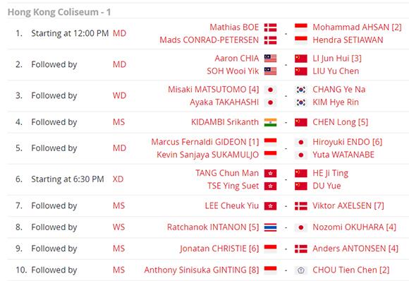 Jadwal Lengkap Perempat Final Hong Kong Open 2019 Hari Ini