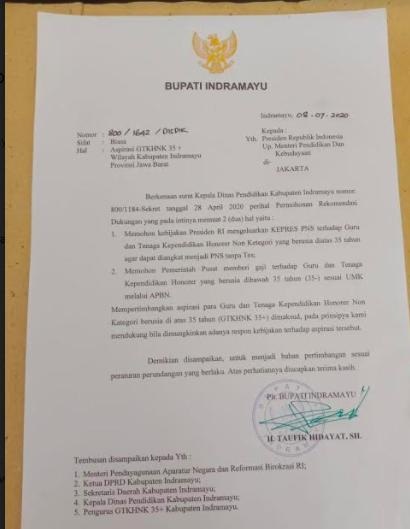Sungguh Mulia, Demi Memperjuangkan Nasib Honorer, Bupati Indramayu Surati Presiden Jokowi