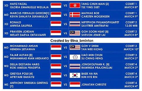 Jadwal Wakil Indonesia di 16 Besar Hong Kong Open Hari Ini