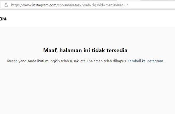 Heboh Artis Berinisial ST Tersandung kasus Prostitusi, Akun IG Shoumaya Tazkiyyah Menghilang