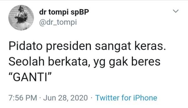 Begini Kalimat Tompi Menanggapi Pidato Presiden Jokowi