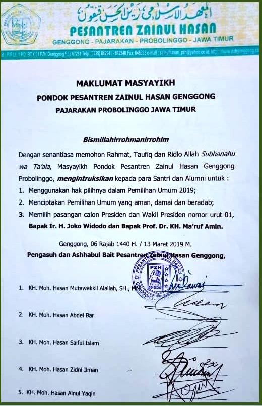 Susul Maklumat Lirboyo, Ponpes Genggong Juga Dukung Jokowi-Ma'ruf