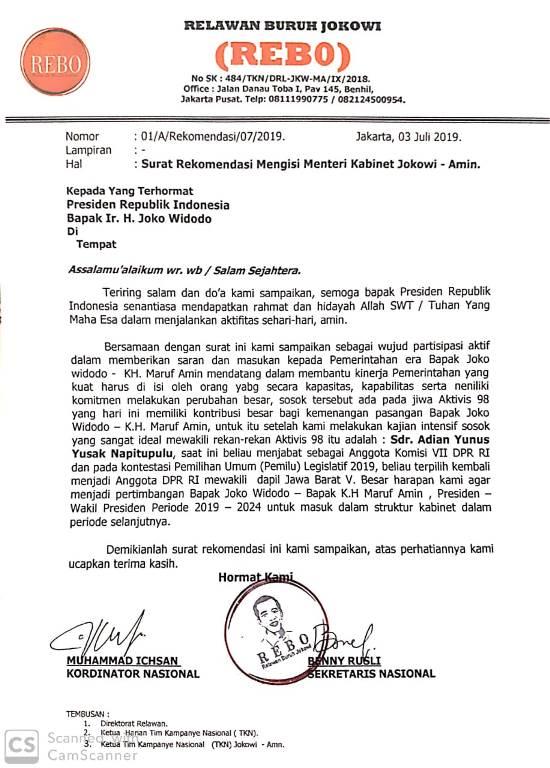Beredar Surat Minta Jokowi Angkat Adian Napitupulu jadi Menteri