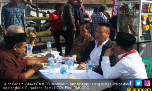 Kunjungi Purwakarta, Kang Hasan Sarapan Bareng Sopir Angkot