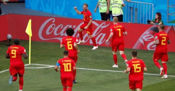 Para pemain Belgia merayakan gol ke gawang Panama pada Piala Dunia 2018. Foto: Reuters