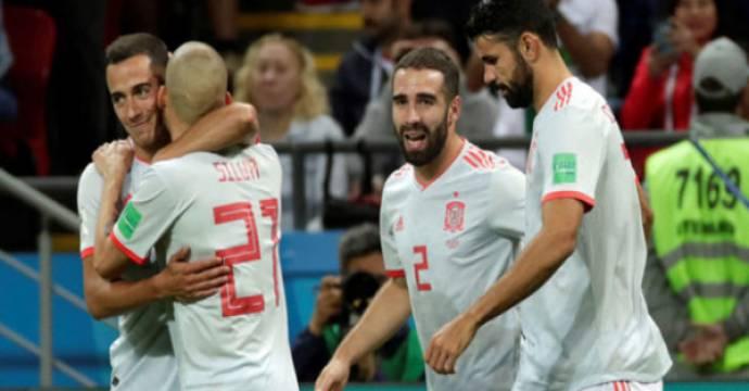Skuat Spanyol menang tipis 1-0 atas Iran di matchday 2 Grup B Piala Dunia 2018. Foto: EFE