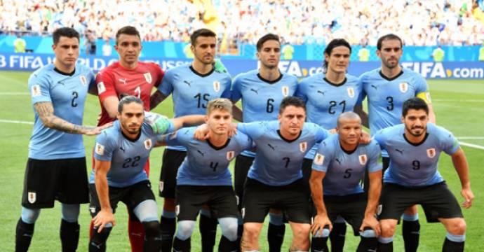 Starter Timnas Uruguay saat meladeni Arab Saudi di Piala Dunia 2018. Foto: AFP