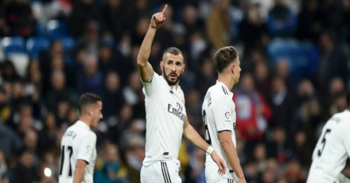 Karim Benzema mencetak satu-satunya gol Real Madrid ke gawang Rayo Vallecano. Foto: livescore