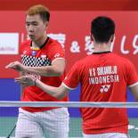 Marcus Fernaldi dan Kevin Sanjaya. Foto: Badminton Indonesia