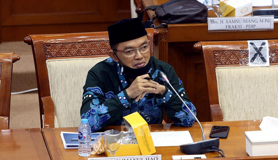 Anggota Komisi VIII DPR Maman Imanul Haq rapat kerja dengan Kepala BNPB, Jakarta, Senin (13/7). Rapat kerja tersebut membahas evaluasi kinerja dan anggaran program penangulangan COVID-19. Foto: Ricardo - JPNN.com