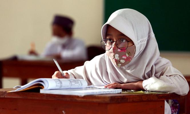 Suasana Uji Coba Pembelajaran Tatap Muka di Pondok Labu