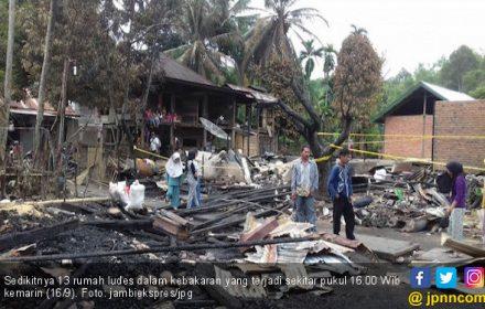 Kebakaran Hebat di Jambi, 13 Unit Rumah Rata dengan Tanah - JPNN.COM